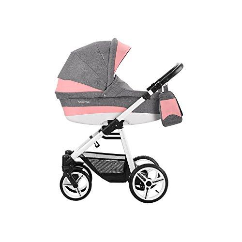 Bebetto Vulcano Modernes Travelsystem Kinderwagen Babywagen Buggy Kinderwagen System + Wickeltasche + Regenschutz + Insektenschutz (3in1 (inkl. Babyschale), V07 GREY-ROSA)