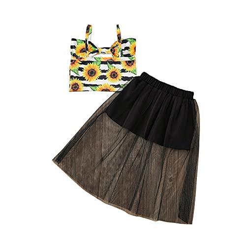 Conjunto de Vestido Floral para niñas pequeñas con Volantes Bowknot Sling Chaleco Top + Falda de Gasa Traje de Verano Trajes de 2 Piezas (Black, 1-2T)
