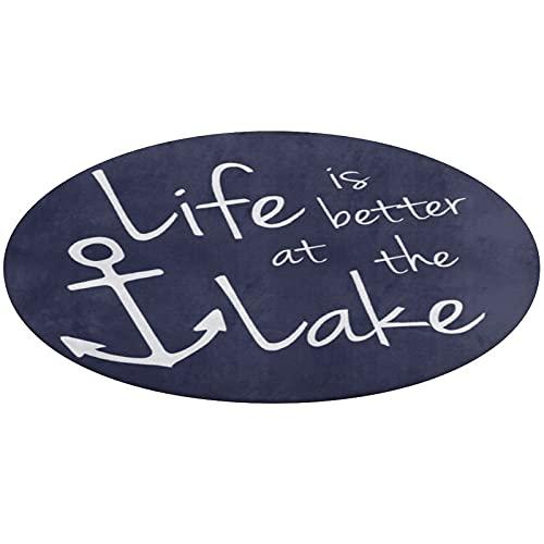 Alfombra de baño redonda, Life is better at the LAKE antideslizante alfombra de baño absorbente de agua para sala de estar, dormitorio, bañera, cocina, 61 cm