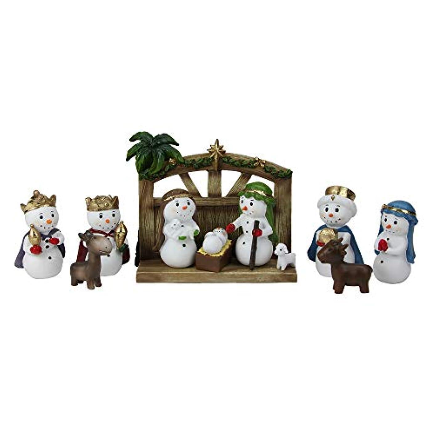 11 Piece Gold Glittered Snowman Christmas Nativity Tabletop Set 6.5
