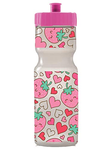 Kids Sports Squeeze Water Bottle - 22 oz. BPA Free Sport Bottle W/ Easy Open Push/Pull Cap - Durable Bottles Perfect for Boys & Girls, School & Sports - Made in USA (Strawberries)