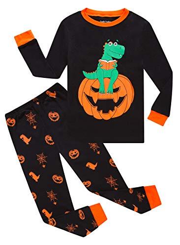 Pumpkin Dinosaur Halloween Pajamas Big Boys Girls Sleepwear Long Sleeve Kids Pjs Size 12