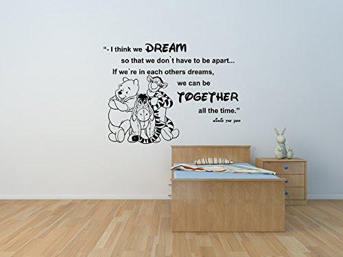 Winnie l'Ourson et amis Eeyore et Tiger devis autocollant mural personnalisé pour chambre d'enfant, Winnie l'ourson pépinière sticker mural.