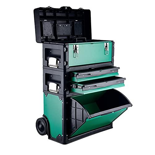 Verktygslåda Stackable Toolbox Rolling Mobile Organizer Case med teleskopisk ? Grip Handtag Upprätt vagn med hjul och lådor Verktygsskåp för verktyg, hobby eller hantverkslagring