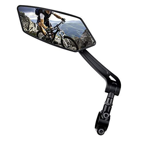 RBRL 2020 New Blast-Resistant Adjustable Bike Rearview Mirror with Large Lens,MTB Bicycle Mirror for Handlebars (Black, Left Side)
