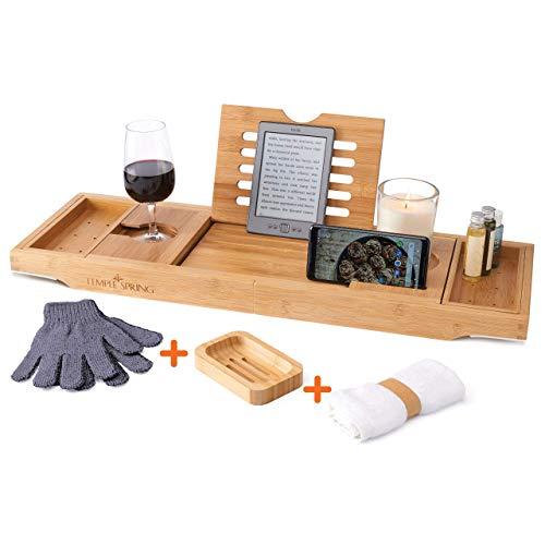 Temple Spring Badewannenablage mit Halter für Kerze, Weinglas, Buch, Tablet, iPad & Telefon Ausziehbare/verstellbare Brücke aus natürlichem Holz als Badewannenablage. Zu 100% aus Bambus.