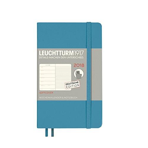 LEUCHTTURM1917 355112 Wochenkalender & Notizbuch 2018 Softcover, Pocket (A6), Nordic Blue, Deutsch
