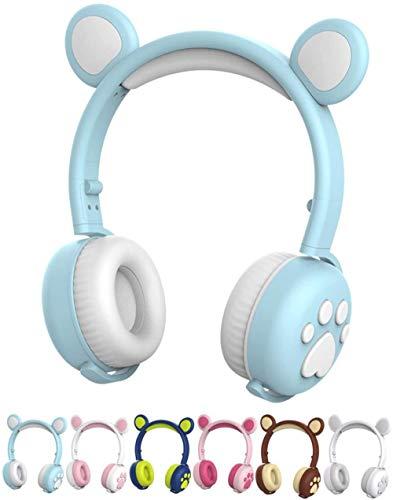 ZSW Auriculares estéreo inalámbricos con Auriculares inalámbricos Plegables con micrófono LED-Cielo Azul