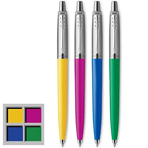 Parker Jotter Originals Kugelschreiber | Klassisches Gelb, Magenta, Blau & Grün | Mittlere Spitze | schwarze Tinte | 4 Stück