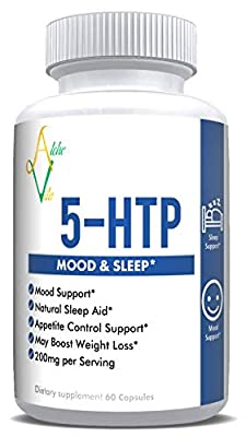 AlcheVita 5-HTP (5-hydroxytryptophan) - 200mg per Serving - 60 Capsules | Mood & Sleep Support - Appetite Control Support, Natural Sleep Aid*