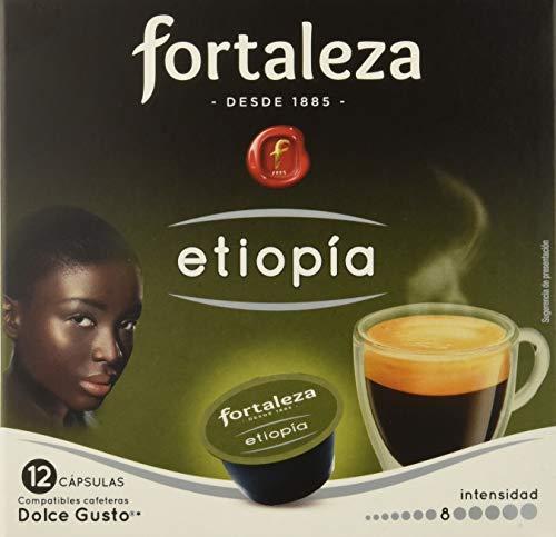 Café Fortaleza – Cápsulas Compatibles con Dolce Gusto, Café de Etiopía, Puro Sabor, 100% Arábica, Aromas Cítricos y Achocolatados, Pack 10x3 - Total 30 uds