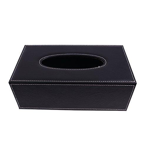 Delmkin Kosmetiktücherbox Hochwertig PU-Leder Tissue Box - 25,5 * 14 * 9,5cm (Schwarz)
