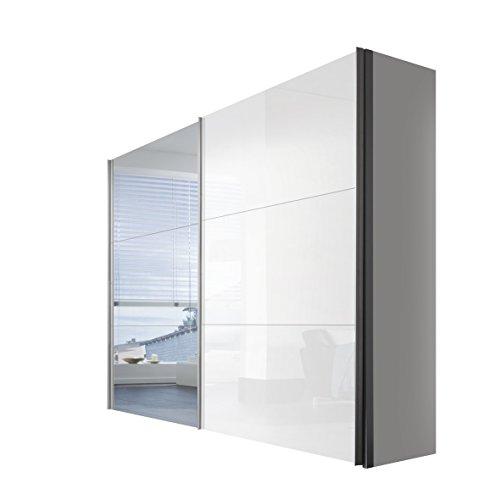 Solutions 46330–203–Armario de Puertas correderas (2Puertas, Listones de Mango Aluminio Colores, Cuerpo Polar Blanco/Lacado Blanco y Espejo Frontal