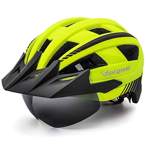 VICTGOAL Casco Bici Montagna Luce di LED MTB Cycling Casco con Occhiali Magnetici Rimovibili Visiera di Sicurezza Regolabile per Adulto Uomo Donne (Giallo)