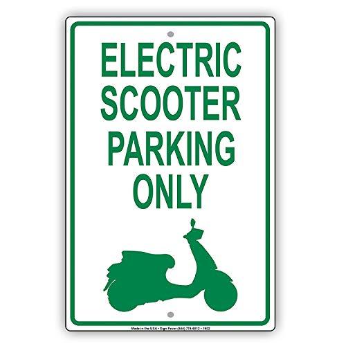 Odeletqweenry Metalen bord Elektrische Scooter Parking Alleen Met Grafische Waarschuwing Waarschuwing Kennisgeving Aluminium Metalen bord Plaat(8
