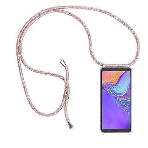 YuhooTech Funda con Cuerda para Samsung Galaxy A8 (2018), [Moda y Practico] [ Anti-Choque] [Anti-rasguños] Suave Silicona Transparente TPU Carcasa de movil con Colgante/Cadena, Oro Rosa