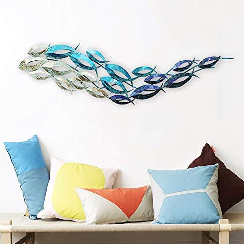 WLHER 3D Stereo Metal Wall Art Sculpture Metal Wall Decoration, Mediterranean Style Marine Theme Swimming Fish Shape, Smart and Elegant, Lifelike Creative Home 12030 cm