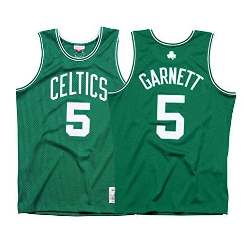 LSJ-ZZ Jersey de la NBA de los Hombres Celtics 5# Garnett Retro Bordado Jersey, Ropa de Entrenamiento sin Mangas Transpirable Tops Tops Chaleco para los fanáticos del Baloncesto,Verde,XL