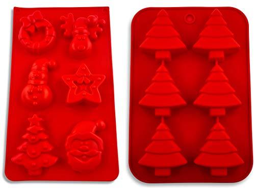 Amazon Brand Umi Set van 2 siliconen bakvormen voor Kerstmis, advent, muffin, kerstman, sneeuwman, dennenboom, ster, kerstkind, engel, BPA-vrij