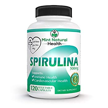 Spirulina Superfood High in Protein Iron and B Vitamins - 120 x 500mg Vegan Non-GMO Powder Veggie Capsules - Supports Body Detox Immune System Brain Lung and Cardiovascular Health