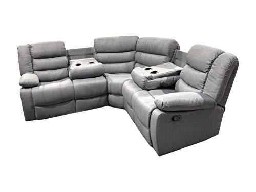 NEW Corner Sofa Recliner folding cupholders | Grey fabric