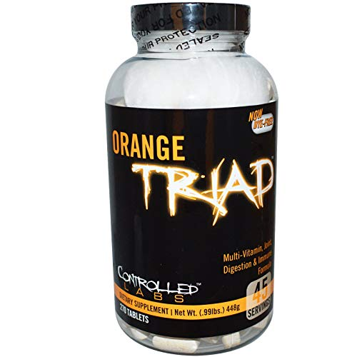 Orange Triad Daily Multivitamin for Men and Women by Controlled Labs, Iron Free Sports Supplement for Workout, Digestion, Immune System, and Joint Health