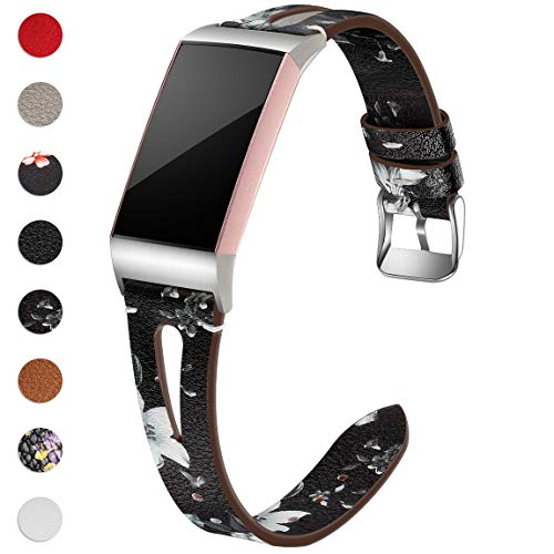 Maledan Compatible with Fitbit Charge 4 and Fitbit Charge 3 Bands for Women Men, Slim Genuine Leather Band for Charge 4/Charge 3/Charge 3 SE Fitness Activity Tracker, Large, Black/White Floral