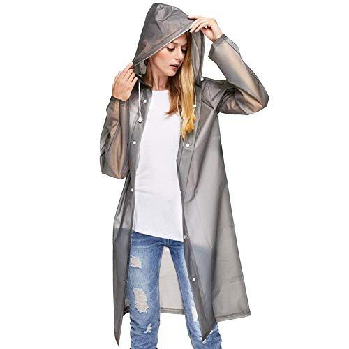 Wiederverwendbarer, transparenter Regenmantel mit Kapuze und Ärmeln, tragbarer Notfall-Poncho, wasserdichte Regenkleidung für Männer und Frauen, Damen, grau, m