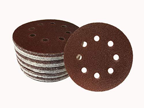 SBS - Disco de lija para lijadora excéntrica (50 unidades, 125 mm, grano 240, 8 agujeros)