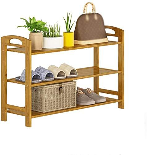 Yxsd - Estante para zapatos de 3 niveles de bambú con asa, estante de almacenamiento para porche, balcón, balcón, tamaño 50 x 26 x 51 cm, 70 x 26 x 51 cm (tamaño 80 x 26 x 51 cm)