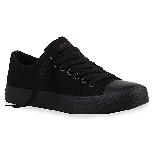 stiefelparadies Unisex Damen Schuhe Schuhe Herren Schuhe Schuhe Sneakers Sportschuhe Stoffschuhe Schnürer 25728 Schwarz Schwarz Ambler 42 Flandell