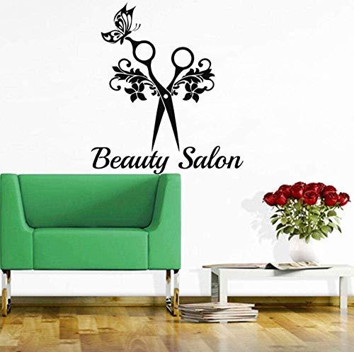 Wandtattoo Tapete Beauty Salon Wandtattoo Schere Haardesign Beauty Shop Dekoratives Wandbild 48X42Cm
