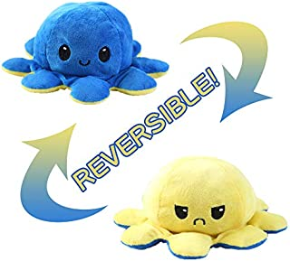 Reversible Octopus Plushie, Double-Sided Expression Reversible Flip Octopus Stuffed Plush Doll (Yellow + Blue)