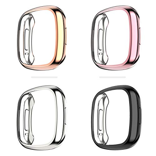 Fvlerz Case Compatible with Fitbit Sense/Versa 3, 4 Pack Soft TPU Anti-Scratch Shockproof Case Cover All-Around Protective Bumper Shell Smartwatch Accessories