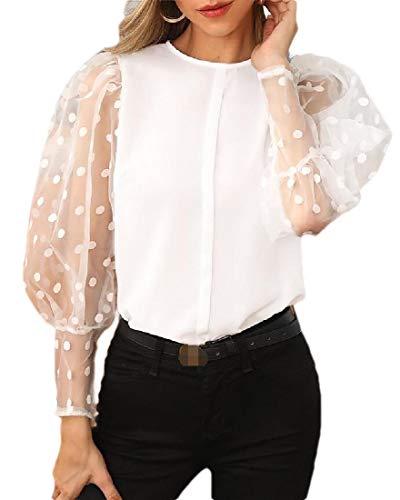 H&E Damen Bluse mit Laternenärmeln und Punkten, Spitze Gr. XS, weiß