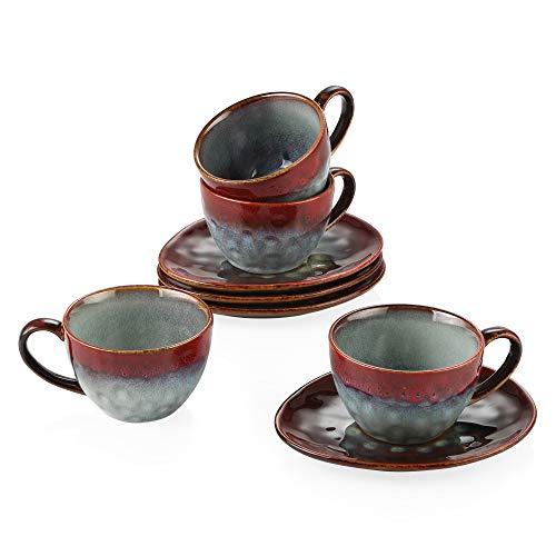 vancasso serie Starry Juego de Café 8 piezas 4 Tazas y 4 Platillos Vajillas para Desayuno Irregular, Arte de Esmaltar, Rojo