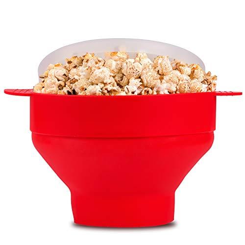 McoMce Popcorn-Popper, Silikon, für Mikrowelle, Popcorn-Maschine, faltbar, mit Deckel und Griffen, für Mikrowelle, Popcorn-Maker für Ofen (rot)