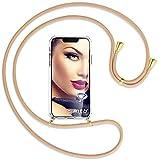 mtb more energy® Collana Smartphone per ASUS Zenfone 4 Max/Plus/PRO (ZC554KL, 5.5'') - Beige/Oro - Custodia indossabile per Collo - Cover con Cordoncino Tracolla