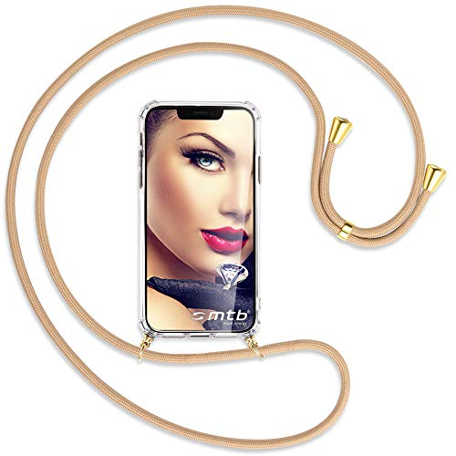 mtb more energy® Handykette kompatibel mit Sony Xperia L2, L2 Dual SIM (5.5'') - beige/Gold - Smartphone Hülle zum Umhängen - Anti Shock Full TPU Hülle