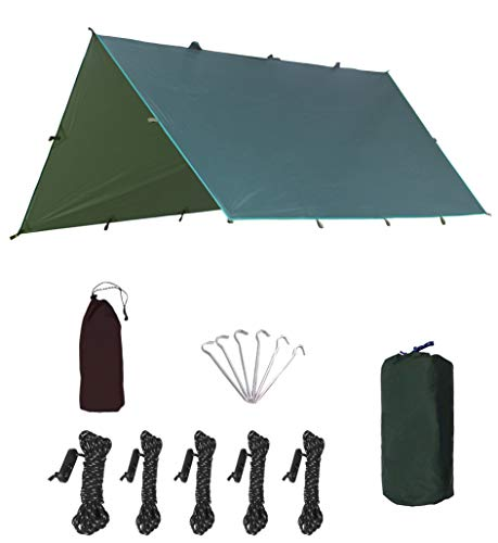 Lona, lona ligera, impermeable, p3000 mm, mina ultravioleta, 6 estacas de aluminio, 5 cuerdas y bolsas de recepción, viajes al aire libre, verde, 3x3,2m