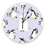 Reloj de Pared de pingüino de Oso Polar con Animales de Dibujos Animados, Relojes de diseño Moderno para Colgar en la Pared, decoración del hogar, Relojes de Pared Redondos de PVC para Sala de Estar