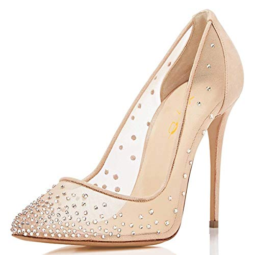 XYD Women Rhinestones Studded Stiletto High Heels Mesh Pumps Pointed Toe Evening Dress Shoes Size 8.5 Nude