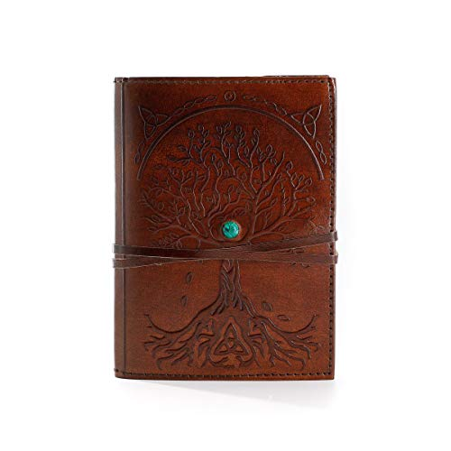 Diario in pelle, ricaricabile, a righe, albero della vita, fatto a mano, in pelle, diario da scrittura o taccuino quotidiano rilegato, per uomini e donne, ideale come regalo per artisti, schizzi.