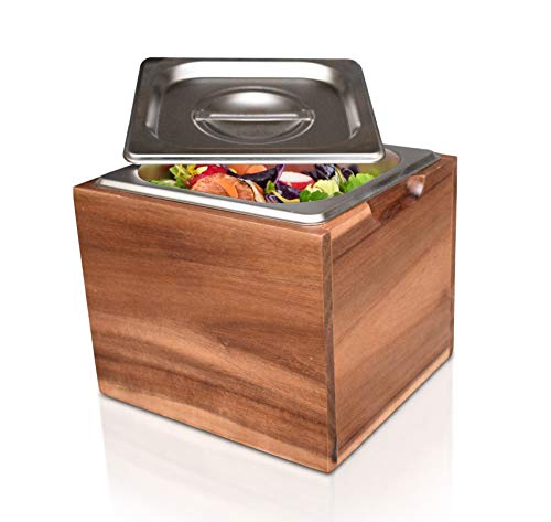 BelleMark Kitchen Compost Bin- Smell Proof, Rust Proof Stainless Steel Insert, Countertop Compost Bin with Lid and Acacia Wood Box- Small Compost Bin Kitchen
