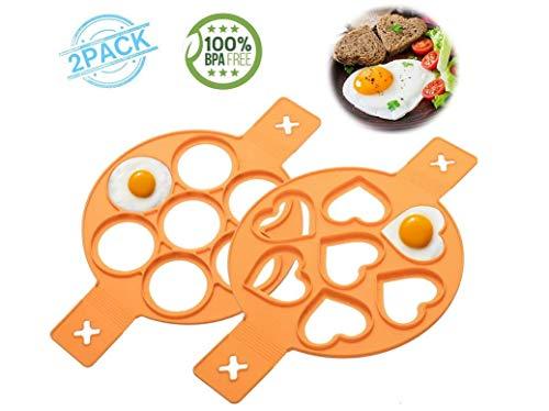 LIUMY 14 Stück Herz und Stern Form Eier Omelettes Fixator Kochring Form Backen Schablone Eier Form Küche Kochen Cake Pop Formen (Orange)