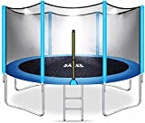 SÄKEE Trampoline with Sprinkler Safety Enclosure Net for Kids Adults 15 14 12 10 8 ft Outdoor Backyard Square Recreational Large Trampolines with Ladder Accessories Wind Stakes Cover Pad Mat