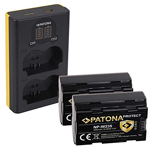PATONA Cargador Doble LCD USB con 2X NP-W235 Protect Batería Compatible con Fuji Fujifilm X-T4