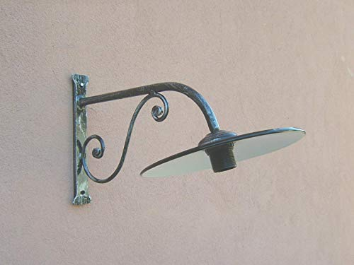 Lampada a braccio da parete in ferro battuto 1121, forgiato a mano, nero patinato argento, con...