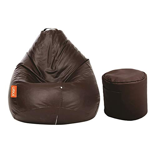 ORKA Classic XXL Bean Bag with Footstool Filled with Beans, Brown