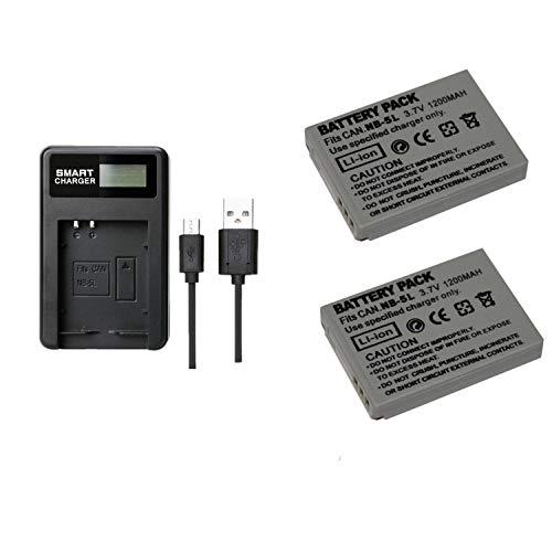 2 Piezas 1200 mAh NB-5L NB5L Batería con Cargador de batería para Canon PowerShot SX210 SD990 IS SX230 (2 pcs Battery with Charger)